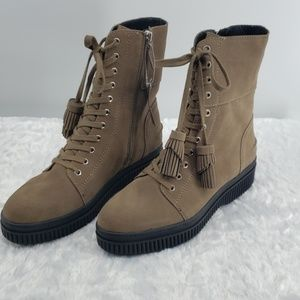 Franco Sarto Becks Suede Lace-up Combat Boots